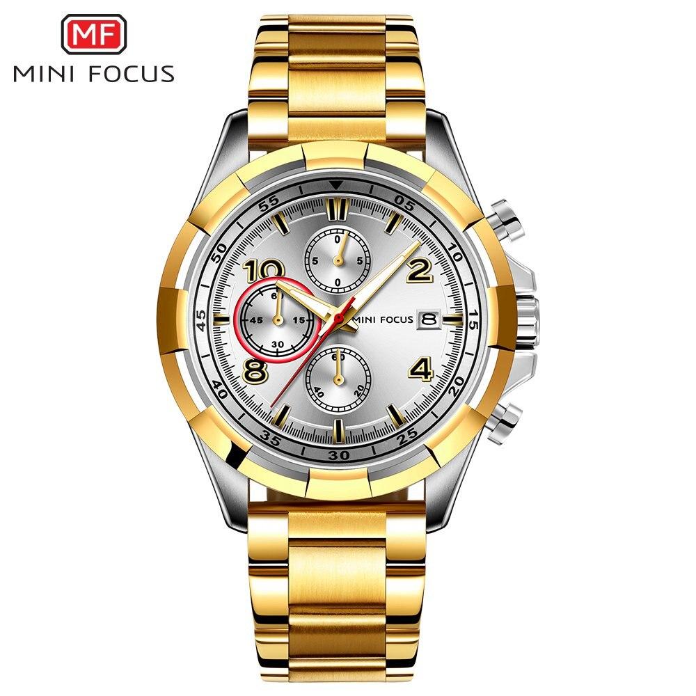 MINIFOCUS Brand Men's Wristwatch Luxury Quartz Watch Men Waterproof Stainless Steel Sport Wrist Watches Montre Homme Male Clock