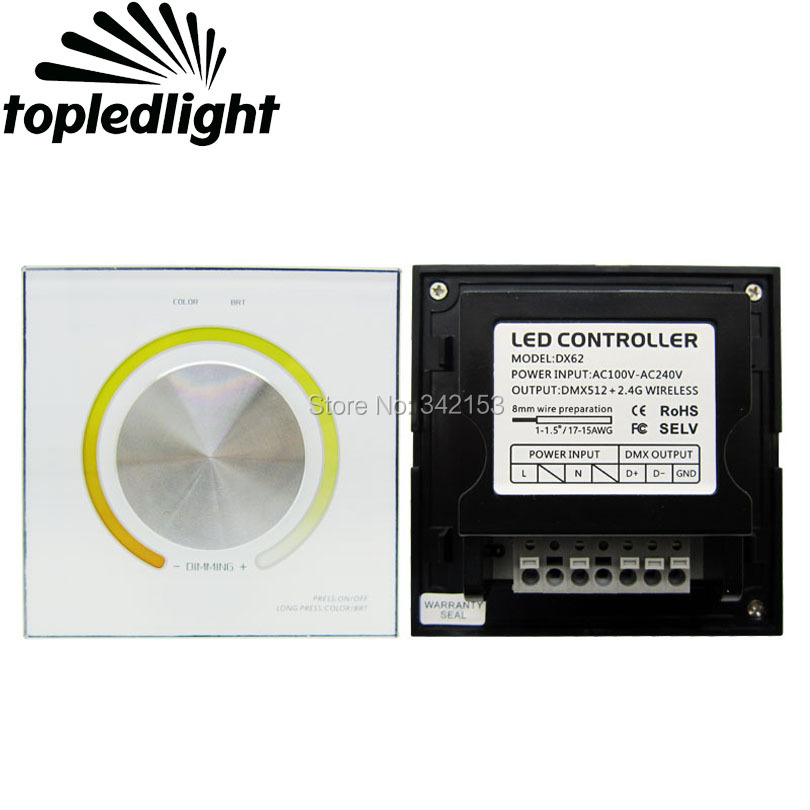 TOPLEDLIGHT DX62 RF 2.4G Wireless + DMX512 Color Temperature Led Controller Dimming Knob Panel Dimmer For Led Strip Lamp Light ac110v 240v dx62 wall mount 2 4g rf wireless led sync cct color temperature controller dmx512 signal ouput for dual white strip