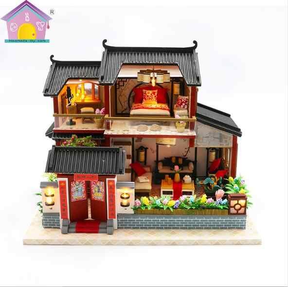 Китайский стиль кукольный домик ручной работы 3D деревянные Miniaturas мини кукольный домик мебель игрушки для детей подарок на день рождения