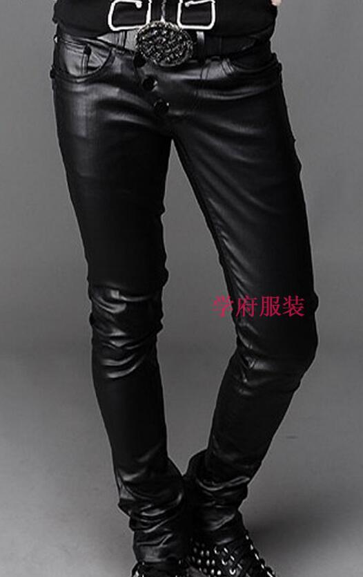 Botón Pu 44 Pantalones Cuero ~ Disponibles Qianmen Más Costura Hombres Negro Tamaño Cantante De 2016 Clothingmale Nuevos 27 Trajes PHFqYxx