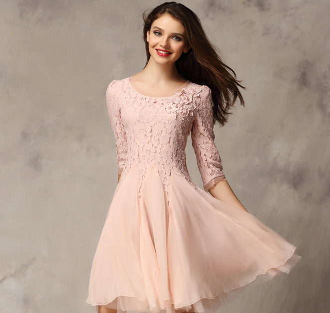 Online Shop Elegant New Round Neck Lace A-line Dress Middle Sleeve ...