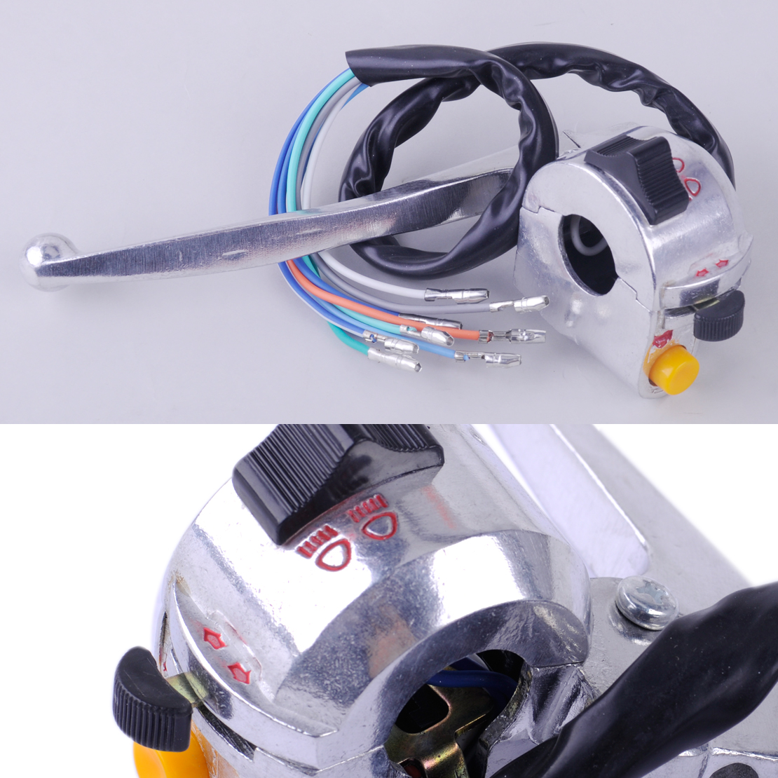 beler Motorcycle Silver Left Handlebar Switch Fit for 50cc Retro Scooter Mount ATV Dirt Bike