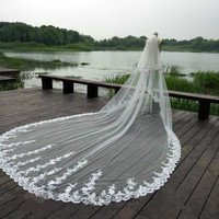Luxury 3 5M White Ivory Cathedral Wedding Veils Long Lace Edge Bridal Veil With Comb Wedding