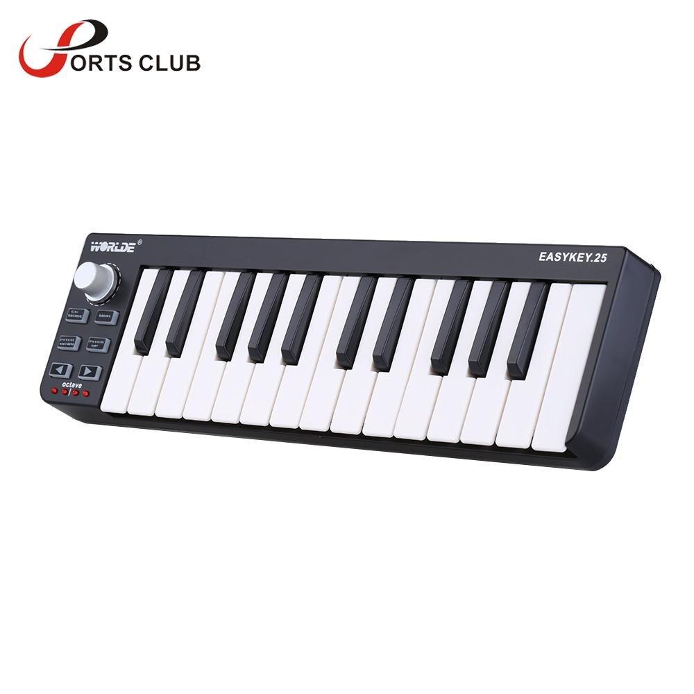 High Quality WORLDE 25 Portable Velocity sensitive Keyboard Mini Durable 25 Key USB MIDI Controller