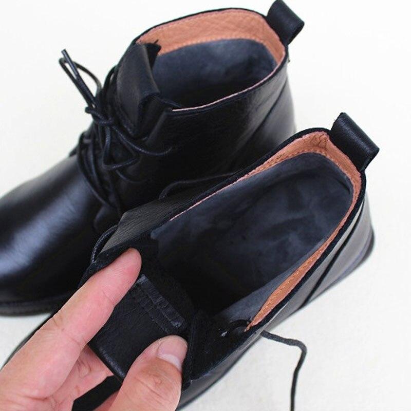Zapatos de mujer botas de invierno de felpa 100% de cuero genuino con cordones botas de tobillo de mujer negro zapato femenino (1319 1)-in Botas hasta el tobillo from zapatos    3