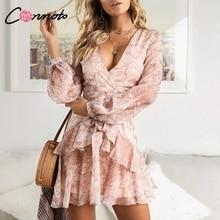 Conmoto خمر طباعة فساتين الصيف الإناث أنيقة حزب قصيرة اللباس القوس مثير الكشكشة الشيفون اللباس النساء Vestidos 2 الألوان