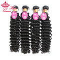 Queen Hair Products Indian Virgin Hair Deep Wave 4Pcs/lot Can Be Dyed 100% Unprocessed Human Hair DHL Free Shipping