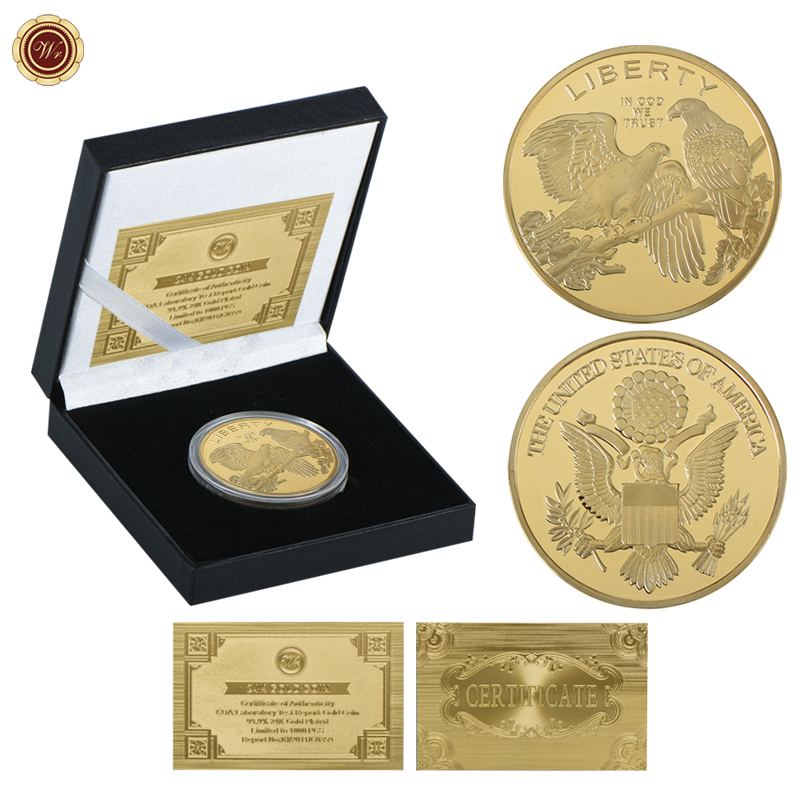 WR Liberty 24k Gold Plated Challenge Coin United States Bald Eagle Copy Coins Gold replica Coin for New Year Gifts