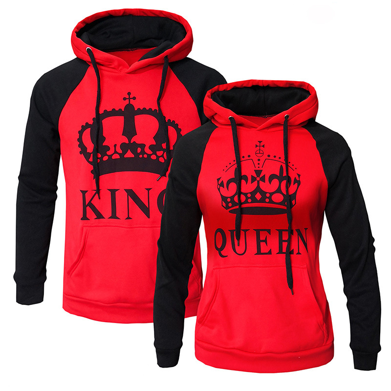 WBDDT Lover Couples King Queen Front Pocket Hoodies Cotton Pullover Men Women Sweatshirt Outerwear Drop Shipping