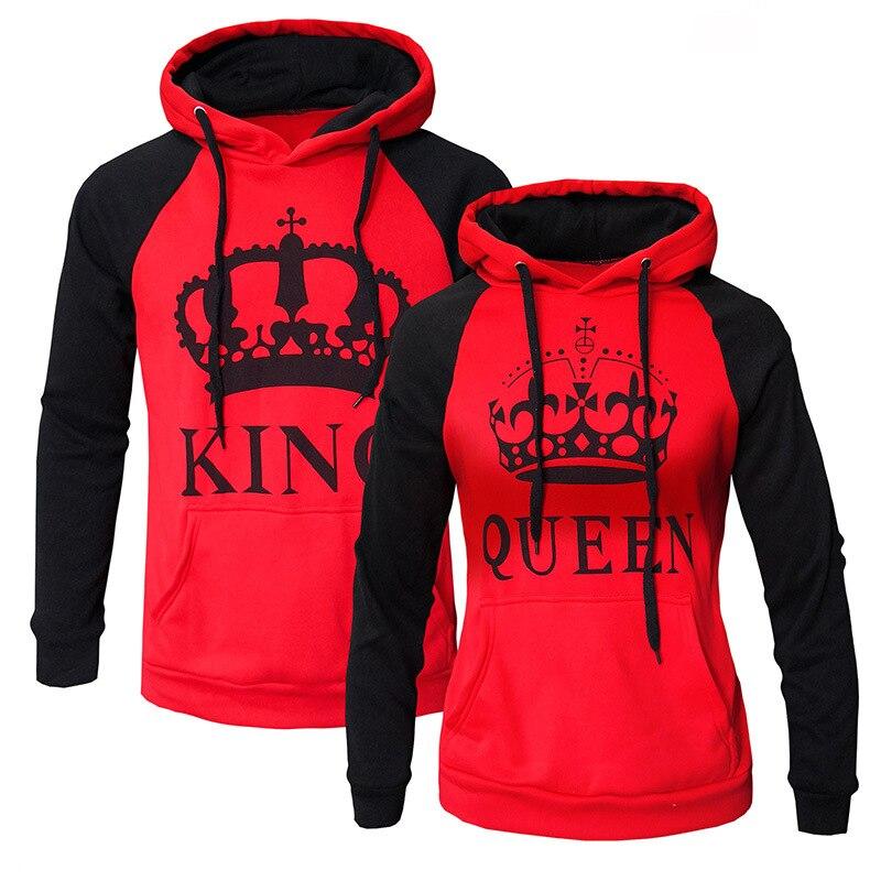 WBDDT Lover Couples King Queen Front Pocket Hoodies Cotton Pullover Men Women Sweatshirt Outerwear Drop Shipping