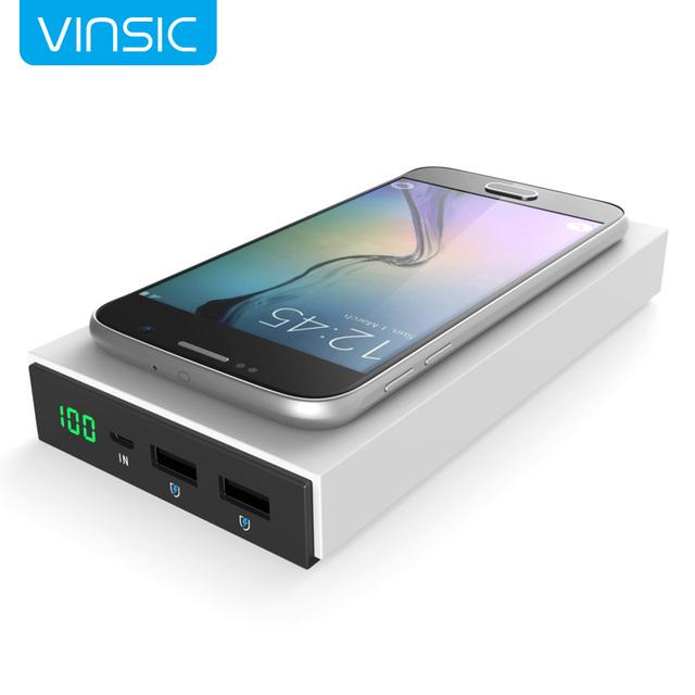 Vinsic magia p8 12000 mah qi sem fio de carregamento de bateria externa banco de potência para samsung s7 e outros qi-telefones habilitados e tablets