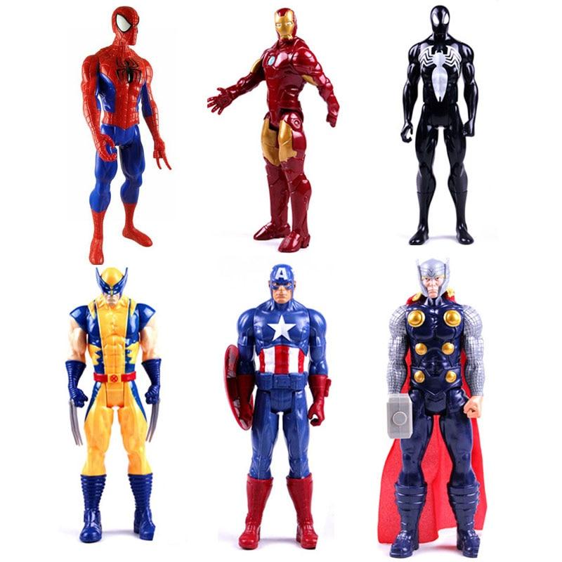 30cm Marvel American Movie Anime Super Heros Captain America Ironman Spiderman The Avengers Superhero PVC Figure Toy