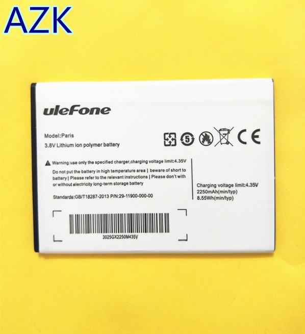 AZK New Battery for Ulefone Paris Paris X Smartphone 2250mAh backup battery  for Ulefone Paris phone High quality + tracking code-in Mobile Phone