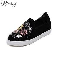 Rimocy Mujer Zapatos de Los Planos de 2017 Del Otoño Del Resorte suave suela crystal floral Mocasines Zapatos de Las Mujeres del dedo del pie Redondo cómodo resbalón de enredaderas