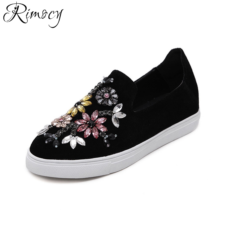 Rimocy Woman Shoes Flats 2017 Spring Autumn soft sole crystal floral Loafer Shoes  Women Round toe comfortable Slip on creepers spring autumn women loafer pointed toe pearl comfortable women flats shoes slip on fashion pu leather women s flat with shoes