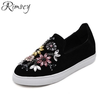 Rimocy Woman Shoes Flats 2017 Spring Autumn soft sole crystal floral Loafer Shoes  Women Round toe comfortable Slip on creepers