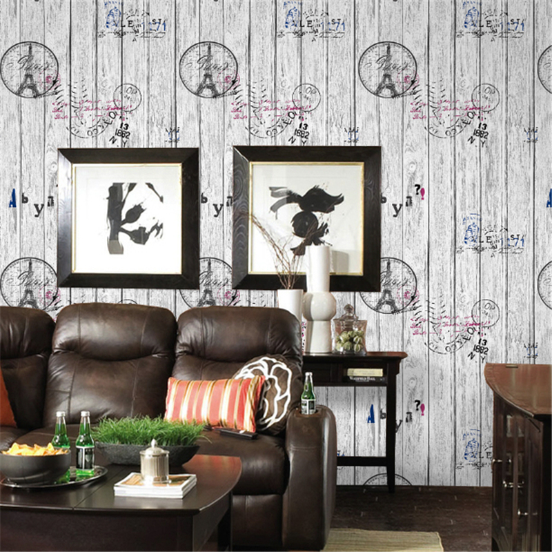beibehang papel de parede,American retro wood to do the old wooden letters Tower wallpaper Bar Cafe clothing personality striped american country to do the old wrought iron loft retro bar stool wood sub circular bar chairs chair cafe bar