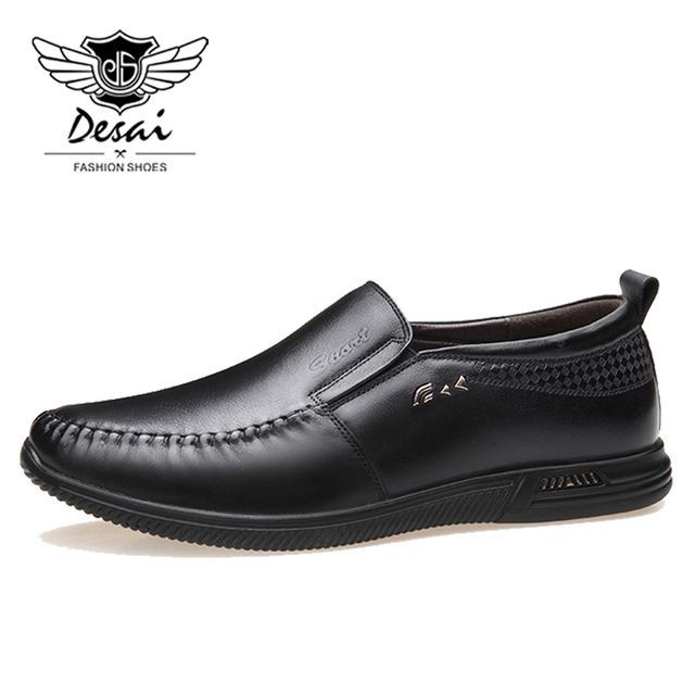 DESAI Brand New Shoes Men Cow Leather Casual Shoes Soft Bottom Breathable Shoes Round Toe Loafers Size 38-44