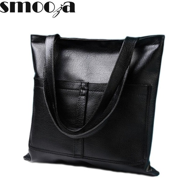 b130c5dba577 SMOOZA European and American retro big shopping packet silver gold color  women bags polished leather handbag women shoulder bag