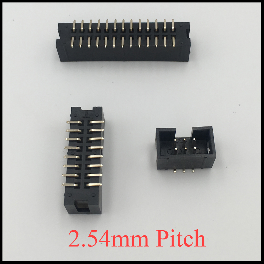DC3 20P 26P 30P 40P 50P 20 26 30 40 50 Pin 2.54mm Pitch Double Row Space SMD SMT JTAG ISP Header Connector Simple Horn Socket 200 pcs light gray dual row 26 pin idc socket connector female header fc 26p