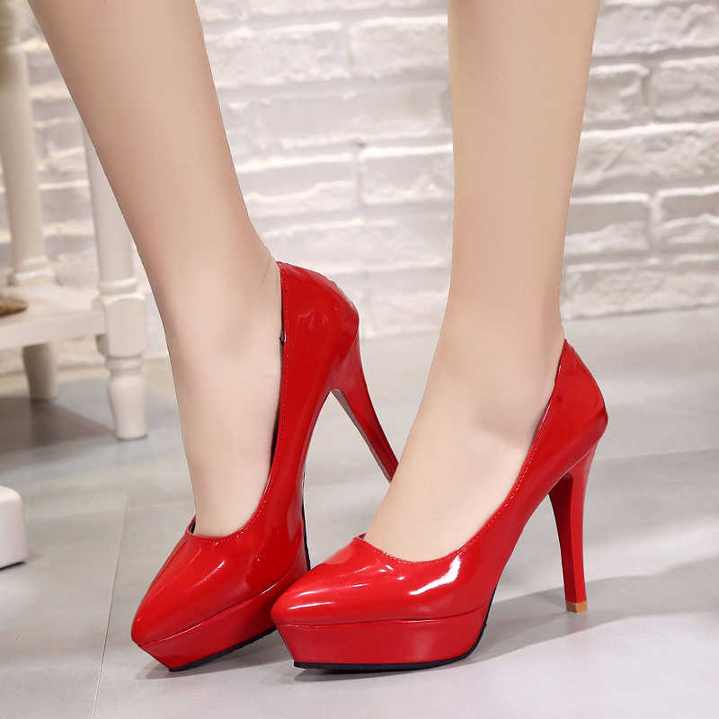 2019 moda patent deri sivri prenses sığ ağız yüksek topuklu vahşi su geçirmez platformu rahat stiletto ayakkabı.