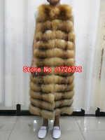 Full leather horizontal stripe fur coat red fox fur vest silver fox fur vest waistcoat ultra long