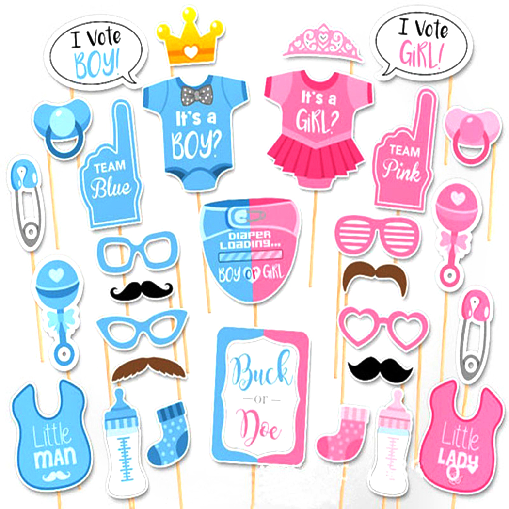 30Pcs Baby Shower Photo Booth Games Babyshower Photobooth Props Its a Boy Girl Favors Party Decoration Supplies
