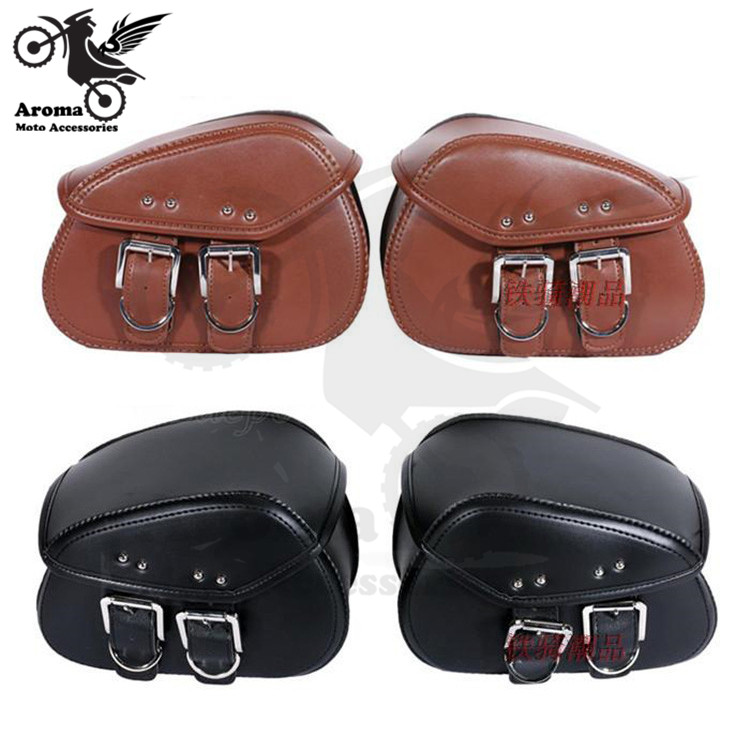 1 pair retro parts 2 color brown black scooter saddlebag leather motorbike tool bag moto saddle bags for harley motorcycle bag цена