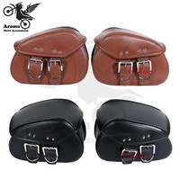 1 pair retro parts 2 color brown black scooter saddlebag leather motorbike tool bag moto saddle bags for harley motorcycle bag