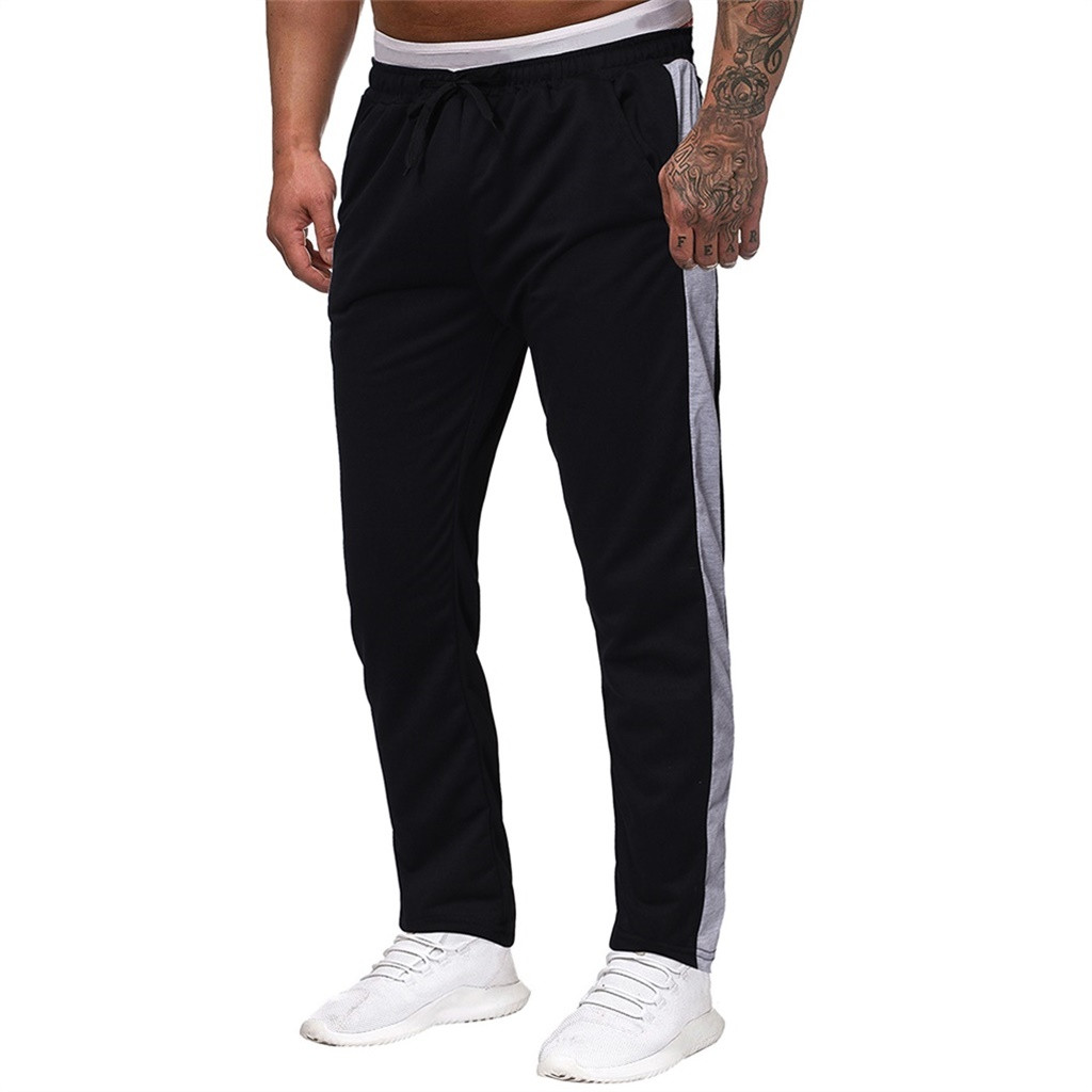 Men Stripe Sweatpants Joggers Plus Size Trousers Loose Sports Pant Fitness Male Tracksuit Drawstring Workout Training Sportswear