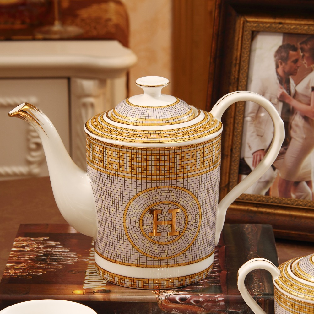 Hot Sale Bone China Coffee Pot European Style Afternoon Tea Teaset Ceramic Teapot Coffee Pot Porcelain