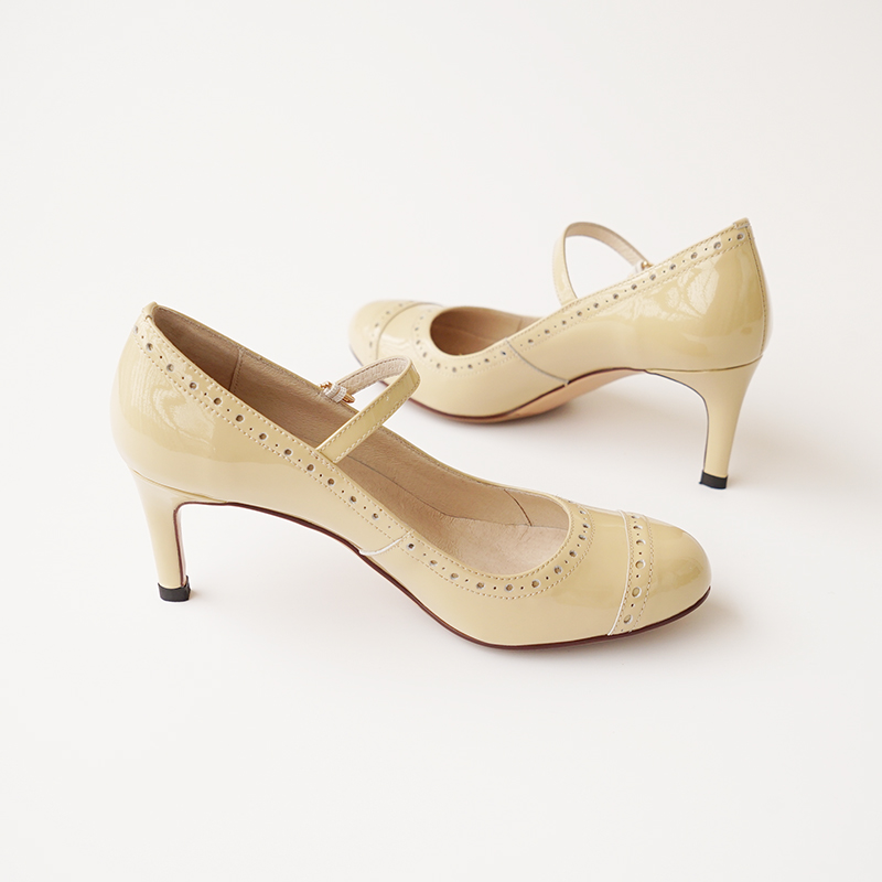 ФОТО  beige  round toe patent leather mary jane pumps  women's  high heels 65mm