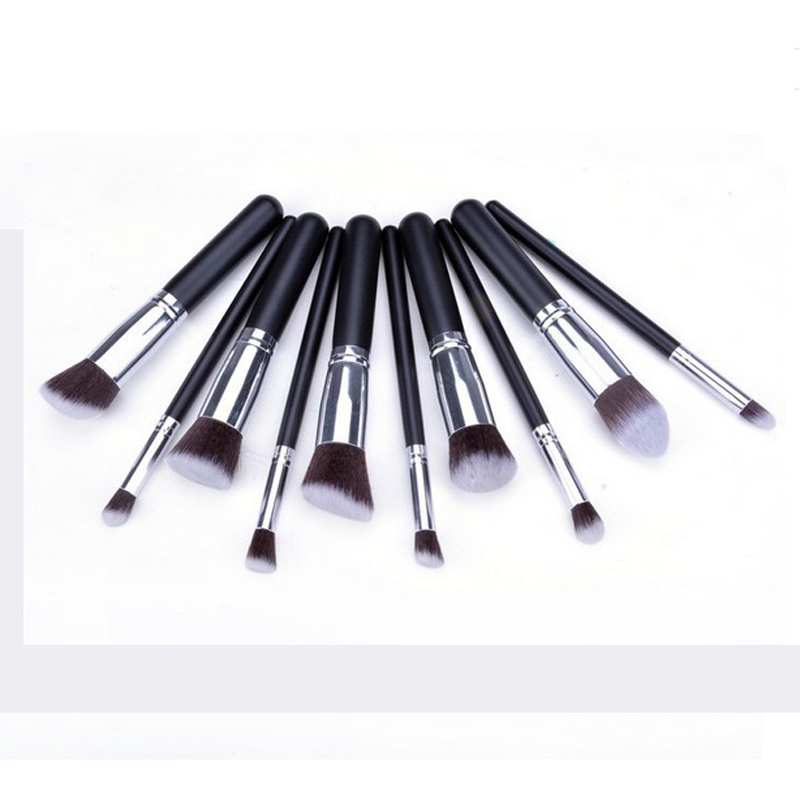 10pcs Silver Make Up Brushes Professional Powder Makeup Brushes Maquiagem Foundation Brush Cosmetic Makeup Tools Accessories Multan