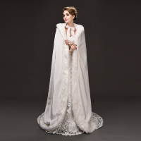 Top Sale 150cm length Georgian Gothic Period Dress White Woolen WinterTheatre Clothing