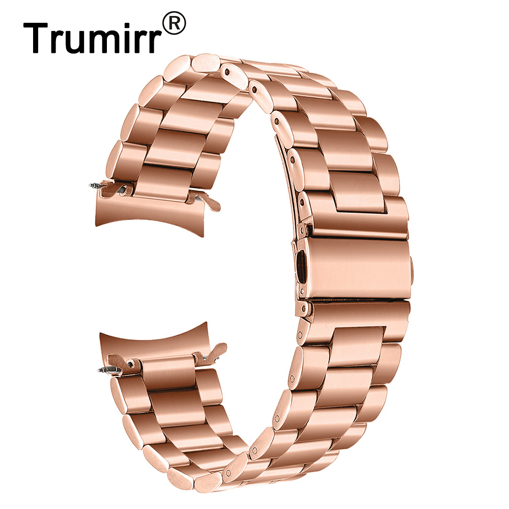 Trumirr Stainless Steel Watchband Metal Clips For Samsung Galaxy Watch 42mm Sm R810r815 Rose Gold Band Wrist Strap Wristband