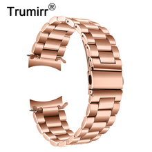 Trumirr Stainless Steel Watchband + Metal Clips for Samsung Galaxy Watch 42mm SM R810/R815 Rose Gold Band Wrist Strap Wristband