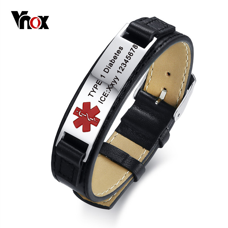 Vnox Free Engraving Genuine Leather Bracelet Medical Alert ID Men Jewelry DIABETES ICE
