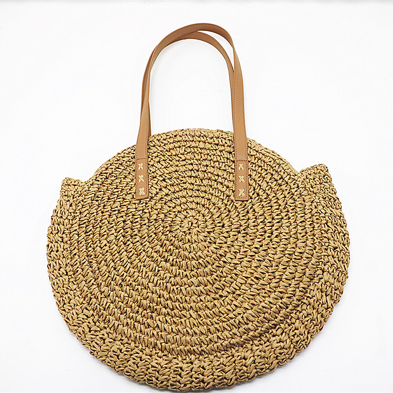 REREKAXI Hand-woven Round Woman's Shoulder Bag Handbag Bohemian Summer Straw Beach Bag Travel Shopping Female Tote Wicker Bags 6