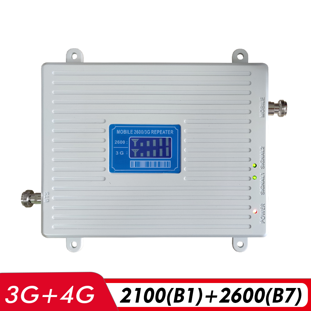3G 4G Dual Band Booster WCDMA/UMTS 2100(B1)+FDD LTE 2600(B7) Cell Phone Signal Repeater 2100 2600mhz Mobile Cellular Amplifier