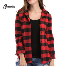 Cinmeprity Large Plaid Shirt Women Tops Long Sleeve Shirts For Women Ladies Blusas Casual Female Blouse Clothing Autumn