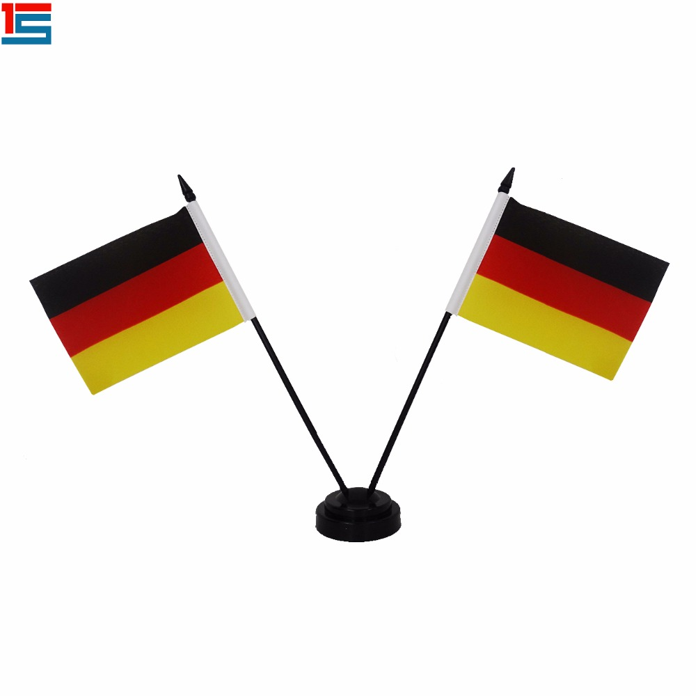 Customized Country Mini Desk Flag Germany Table Flag With Plastic Poles And Black Base