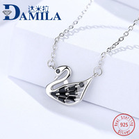 100% 925 Sterling Silver swan pendant chain necklace For Women S925 silver choker jewelry necklaces for girl female jewelry