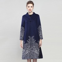 Winter Coat Women New Boutique Embroidered Stand Collar Single Frog Closure Wide waisted Split X Long Coats Female M XXL