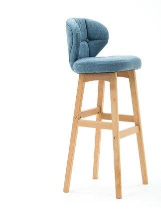 Nordic solid wood bar chair modern minimalist creative bar chair front backrest high bar stool home bar chair