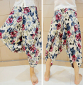 2016 Fresh Flower Low Dropped Crotch Linen Harem Pant Mens Original Designal Fashion Floral Casual Summer Brand Beach Trousers