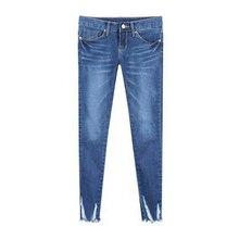 Тонкий брюки лето осень 2016 заусенцев отверстие 9 ноги тонкие джинсы женские ноги женщины карандашом женские капри женские узкие джинсы
