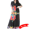 Large Sizes Women Black With Peony Print Long Maxi Dress 4Xl 6Xl 7Xl Beach Holiday Bohemia Dresses Sexy Deep V-Neck Women'S Slim