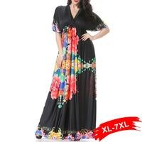 Large Sizes Women Black With Peony Print Long Maxi Dress 4Xl 6Xl 7Xl Beach Holiday Bohemia