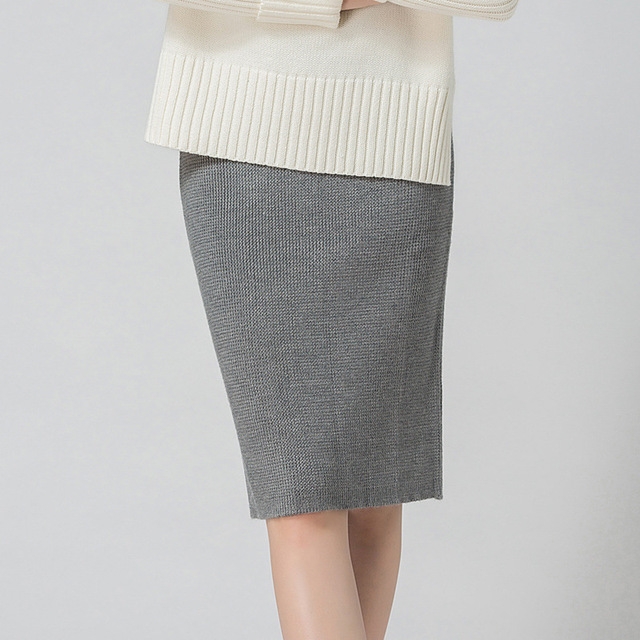 53bd8cbca2 2018 New Women Pencil Solid Grey Wool Pencil Skirt Fashion High Waist  Casual Bodycon Knee-