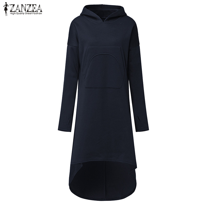 Fashion ZANZEA Women Winter Solid Hooded Long Sleeve Pockets Long Sweatshirt Dress Hoodie Fleece Irregular Hem Vestido Plus Size